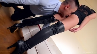 Attractive man take pleasure in stunning Sharon Lee's very long legs simultaneously in the company