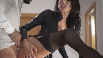 Enjoyable raven haired MILF in sexy leather-based coat of paint gets fucked on stairs tough