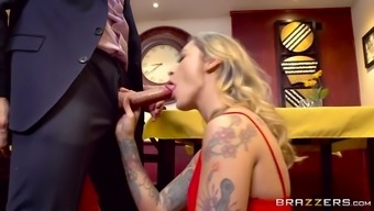 keiran lee gets moved off by kleio valentien inside a diners