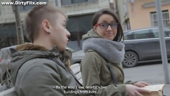 Adorable teen in spectacles getting bonked pup form with the cooking