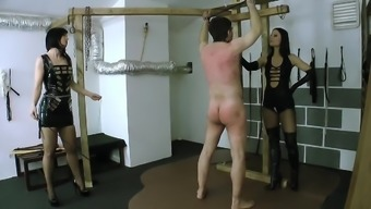 Two little women beating guys slave 02