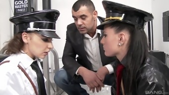 Henessy and Athina Like are girls in police uniforms seeking a threesome