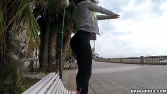 franceska jaimes within a leggings soliciting upon the bench press in the community