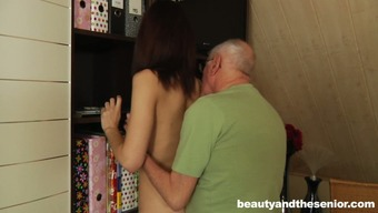 Slight blond girlie with cute titties attracts old adult man to obtain twat make fun of