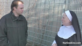 The german language Little Boy persuade Granny Nun to effectively Fuck Him