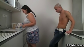 BBW sexual intercourse at the kitchenette