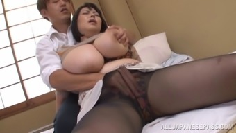 Full senior From asia model gets ejaculate on her big tits after getting fucked great