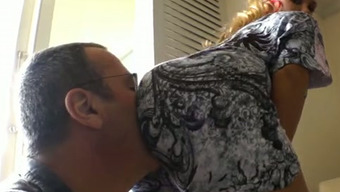 Dude loves licking hot butt of a vibrant hen in attractive gown