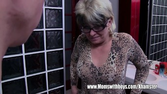 Gray Haired Stepmom Fucks Her Wash room Jerking Stepson