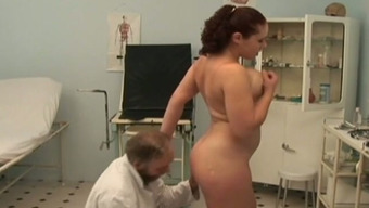 Busty Russian trudge fucks horny old medical professional in his office