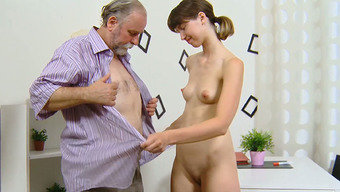 Scorching young adult with slender body has grimy sex back with her grey haired mankind