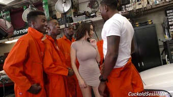Dark colored inmates and of course the law enforcers will offer her a reliable pounding!