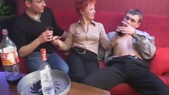 During a occasion a redheaded MILF fights four gentlemen at once