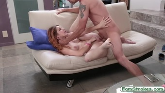 Youngster slut Amarna Miller popped by her stepdad on the divan