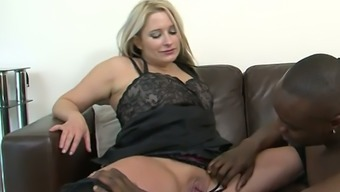 Chubby light haired homemaker Kaz B had damp intercourse together choice lover in leather mattress