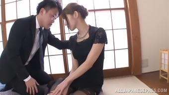 Japanese mother trying stockings take pleasure in a few kinky bowling