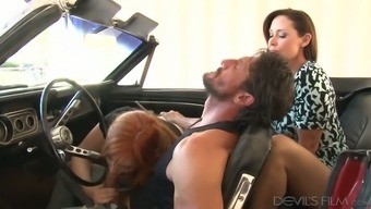 Talented blond MILF tracked wayward blond kissing large cock of the stud in automobile