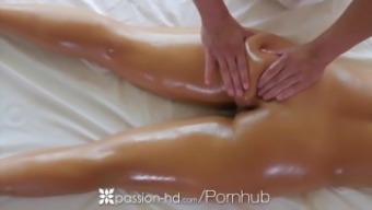 PASSION-HD Oiled out massage session fuck along with brunette big tits Layla London