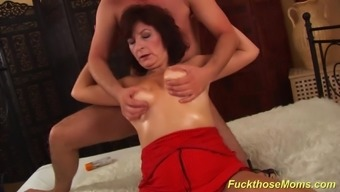 Naughty czech severe furry mama along with oiled great natural boobs loves a large cumshot