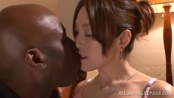 Japanese hussy gets her pussy laid a hand and broken by a exemplary dude