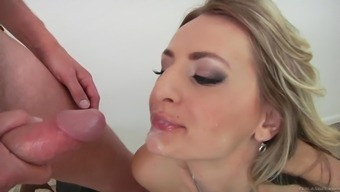 Charming milf by using naturally-occuring tits swallows ejaculate after getting powdered intense rectum