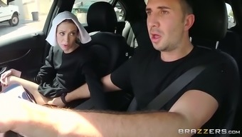 Slutty dim haired nun gives moist profound throat to her friend in car