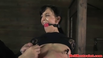 Tiedup nipple secure hooker caned by maledom
