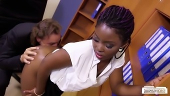 Filthy old person-in-charge plows his little ebony secretary