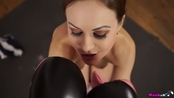 Bitch in brawling gloves Tina Kay sucks very difficult penis and jerks off it