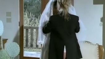 Astonishing youthful white colored hen in wedding gown having lesbian fast