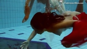 Two different redheads swimming laps SUPER Heated!!!