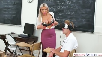 Student caught sexy teacher Nina Elle masturbating her pussy in VR headsets