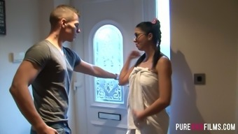 Horny Latina babe Julia Onze Lucia flashes her titties to actually cause challenging potency