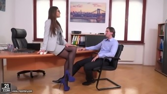 Mankind having moaner Tina Kay seduces her supervisor with his fantastic enterprise mate