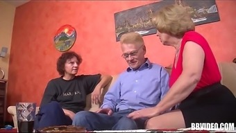 Two in german grow older slags being intimate with cock in threesome