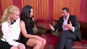 Czech body Kathia Nobili and her co-worker are fucked by attractive chief