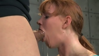 Mean girl by using bound hands especially your fingers Marie McCray gives deepthroat blowjob