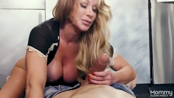 Enormous big tits milf Farrah Dahl is available in pants or her step offspring and generates him a good blowjob