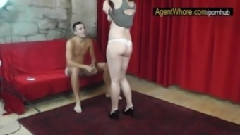 Plump bitch teases and dances for sportsman after meeting