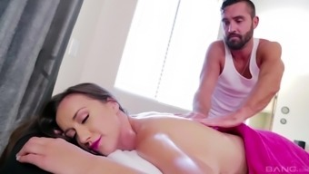 Brunette babe Victoria Rae Black gets her pussy massaged with cock