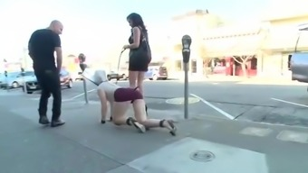 Sexy slave group public toyed in shop