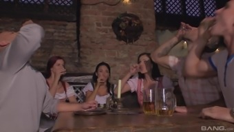 Abbie Cat and her wild friends enjoy group fuck in the night bar