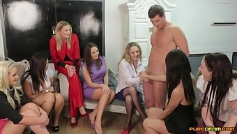 Orgy between one dude and lot of horny pornstars. Hd video