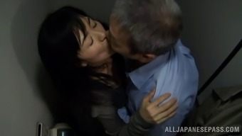 Age Japanese porno star getting fucked doggy style by the perverted old bloke inside the potty