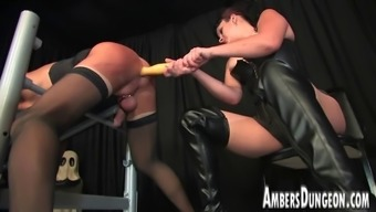 Girlfriend Lux anal passage dilling, strap-on and milking of mens pig