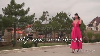 My new red dress for flashing publicly