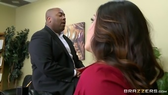 alison tyler has ceo's son intake her starving pussy underneath working desk