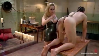 stud gets gagged and fucked in stupid ass by spiteful lady with the use of strapon