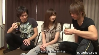 Spoiled Japanese people baby Shino Tanaka is fucked by 2 co-workers