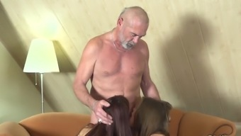 Old adult man fucks 2(two) younger youth swaps ejaculation girl friend BFF
